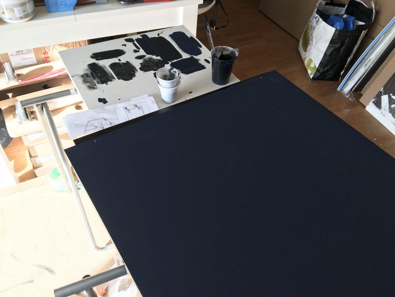 peinture cuisine renovation noir bleu