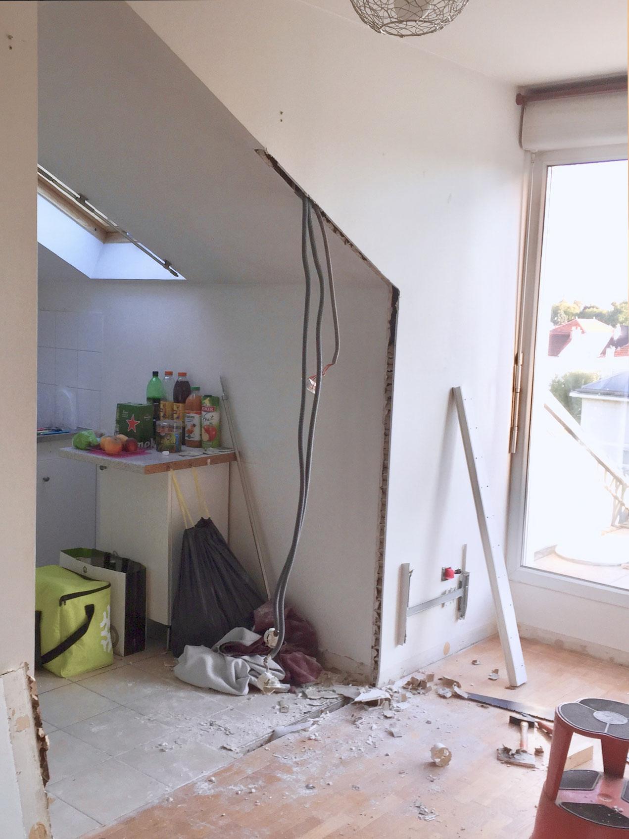 renovation cuisine casser un mur