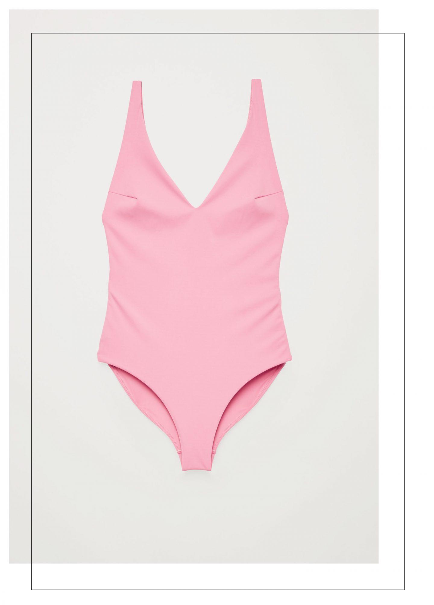 Maillot de bain une pièce rose forme V